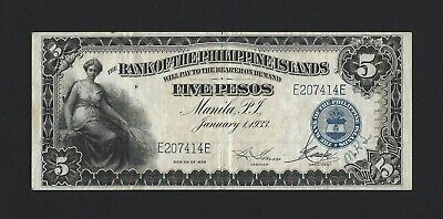 PHILIPPINES 5 Pesos 1933, P-22 Bank of the Philippine Islands, Decent Crisp VF