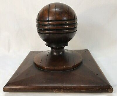 Large Antique Architectural Wood Newel Post Cap Finial