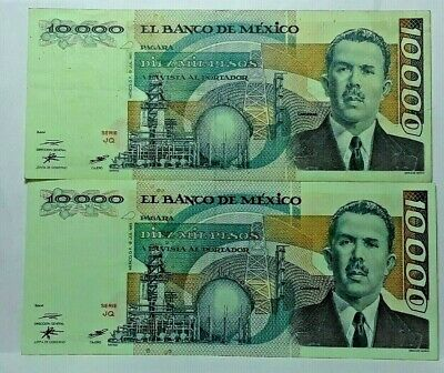 2 Notes 1985 Mexico 10000 Pesos Currency Banknote Uncirculated Note Green Color