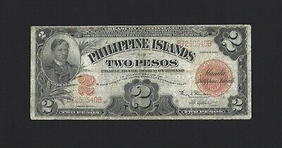 PHILIPPINES 2 Pesos 1924, Philippine Islands Treasury P-69c Scarce Type