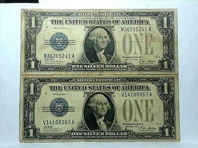 2 Notes 1928 A One Dollar $1 Silver Certificate Note, Funny Back Blue Seal