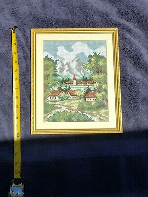 Vintage Embroidery Needlepoint Tapestries Antique Art Deco Framed Matted