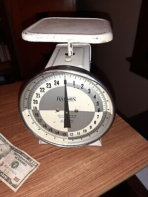 VINTAGE 1960's HANSON FARMHOUSE UTILITY SCALE KITCHEN FOOD WEIGHING TOOL 25 LBS.