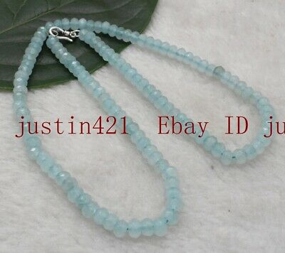4x6mm Blue Aquamarine Faceted Roundel Gems Beads Necklace Silver Clasp AAA