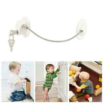 Security Baby Refrigerator Window Door Lock with Key For Child Proof Safety T2U4