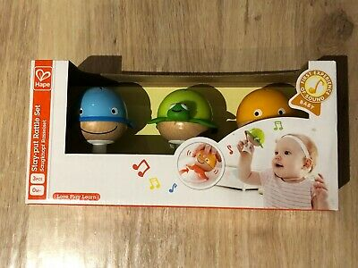Hape Stay Put Rattles Set of 3 BN in box