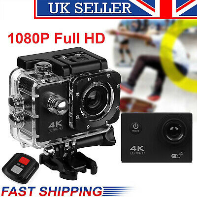 Full HD 4K 1080P Action Camera Sports WiFi remote control DVR Cam Camcorders UK