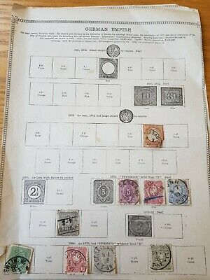 German Empire stamps on old album pages