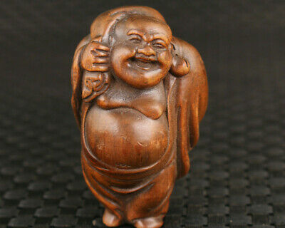 Rare chinese old boxwood hand carved buddha figure statue hand piece