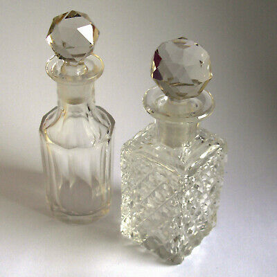 Two Small Glass Perfume Bottles With Stoppers
