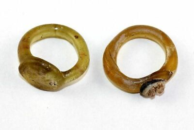 *Sc*Interesting Lot Of Two Beautiful Byzantine Glass Rings, Marriage!