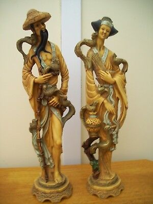 Vintage chinese lady and man figurines 19 inches tall lovely