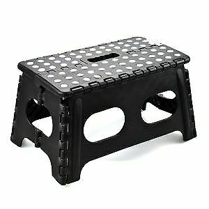 Black Wide Folding Stool Step Multi Purpose Kitchen Home Diy Heavy Duty Plastic