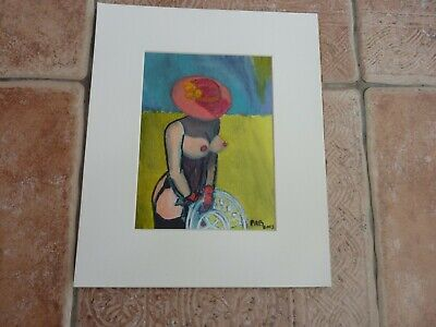 """12"""" X 10"""" """"Semi nude outside"""" Painting in Acrylic on Board by P A Barton"""