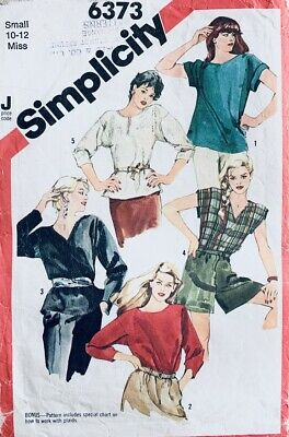 Vintage Simplicity Pattern 6373 | Retro Misses Loose Tunic Tops | Size 10 - 12