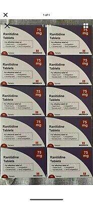 Ranitidine 75mg tablets 12 X10 Packet, Exp 10/21, Heartburn Tablets, Acid Reflux