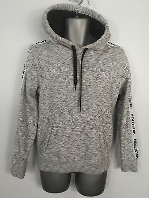 Mens Hollister Grey White Marl Speck Pullover Hoodie Jacket Jumper Size Small Xs