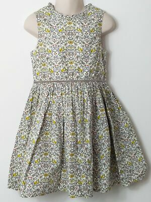 Girls Next White Green Floral Sleeveless Lined Summer Dress Age 6 Years