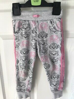 Girls Paw Patrol Jogging Bottoms Joggers Grey And Pink Size 18 Months - 2 Years