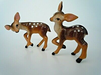 Two Vintage Similar Hagen Renaker Spotted Deer Fawns  1950's