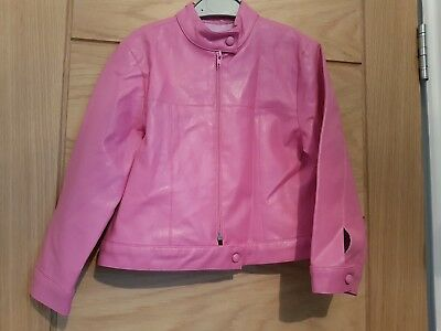 Pink leather look jacket age 6 years
