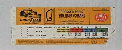 Ticket 1980 German Grand Prix F1 Hockenheim # Laffite Reutemann Piquet Billet #