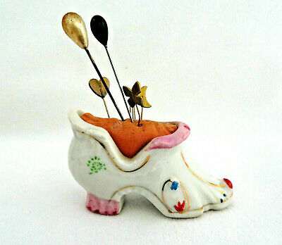 Vintage Porcelain Shoe Pin Cushion w/ Old Pins
