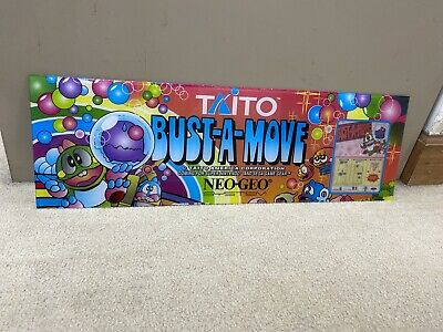 Original Bust-a-move Plexiglass Header Marquee Coin Op Video Arcade