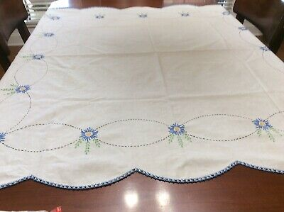 Vintage White Luncheon Tablecloth 49 X 50 Blue Crochet Trim Embroidered Floral