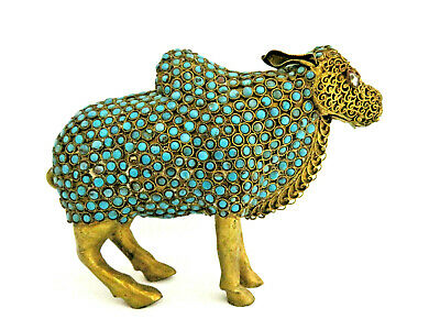 Vintage Old Chinese Nepal Brass & Turquoise Water Buffalo Figurine