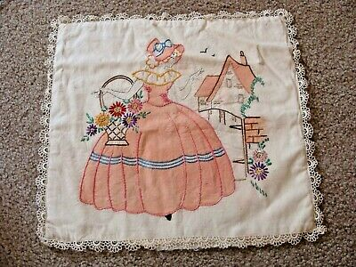 Vintage Vogart ? Tinted Embroidered Pillow Cover Girl Flowers Unused 1930's