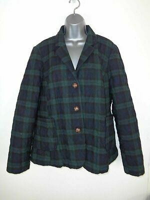 Womens Next Navy/Green Tartan Button Up Padded Winter Quilted Jacket Coat Uk 22