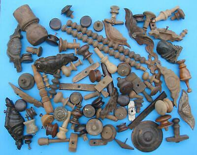 Huge lot antique wood finials knobs drawer pulls furniture pieces wood items