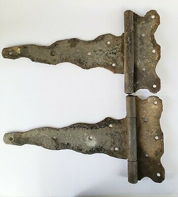 Antique Vintage Wrought Iron Gate Barn Door Hinge Pair Hammered Metal Old Parts