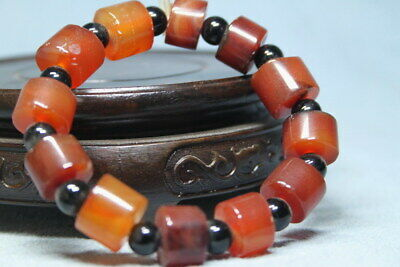 Decoration Rare Agate Polishing Brown & Black Beads Elegant Auspicious Bracelet
