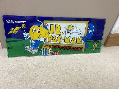 Original Bally Jr. Pac-man Glass Header Marquee Coin Op Video