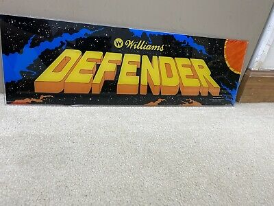 Original 1980 Defender Plexiglass Header Marquee Coin Op Video Arcade