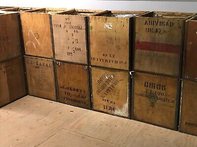 Antique Tea Chest Box Vintage Wooden Packing Boxes circ.1960