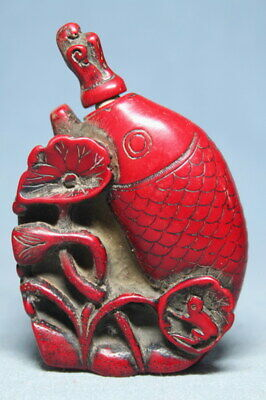 Decoration Coral Carving Fish & Lotus Leaf Auspicious Beautiful Snuff Bottles