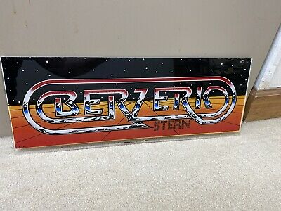 Original Berzerk Plexiglass Header Marquee Coin Op Video Arcade