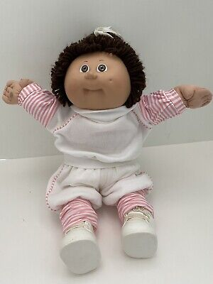 Cabbage Patch Kids 1985 OK GIRL Brown Eyes Brown Hair Pink/White Outfit Doll