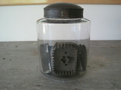 Old Primitive Wonderful Glass Apothecary Jar with Original Tin Lid American AAFA