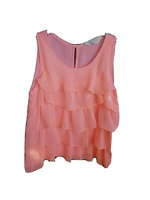 Fabulous Girls H&M Top Size 9-10 Years in bright coral/ pink floaty fabric!
