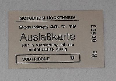 1979 Ticket Auslasskarte Grand Prix Hockenheim Formel 1 Jones Scheckter Billet