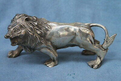 Decoration Handwork Auspicious Miao Silver Carving Mighty Lion Exquisite Statue