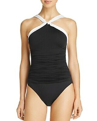 $108 New Ralph Lauren Shirred High Neck One Piece Swimsuit Plus Size 16 NWT