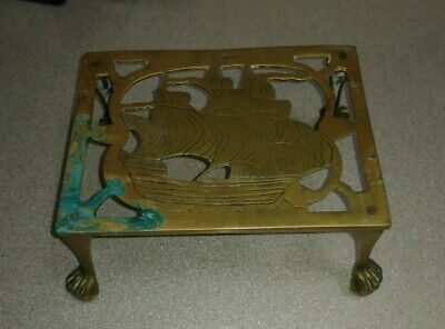 Antique Brass Trivet Cake Iron Planter Stand Ship Boat Galleon Vintage Old Claw