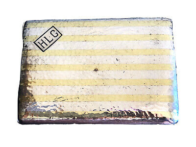 Antique Sterling Silver Cigarette Case With 18K Gold  Strips, Circa 1920