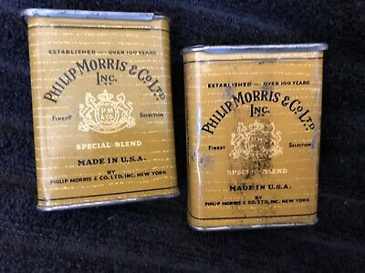 Vintage Philip Morris Cigarette Tins (2) One Great, One Not Great,
