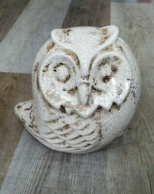 """Ceramic Owl Figurine White & Brown Approximately 7"""" x8"""" New"""
